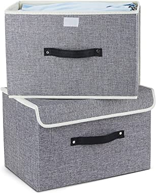 Storage Bins Set,Storage Baskets Pack of 2 Foldable Storage Boxes Cubes with Lids, Fabric Storage Bin Organizer Collapsible B