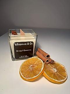 Velisimas & Co. Orange & Cinnamon, Naranja y Canela, Vela artesanal de cera de soja