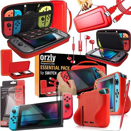 Orzly Switch Accessoires, Ultimate Pack pour Nintendo Switch [Pack Comprenant: Protecteurs d'écran en Verre Trempé, H...