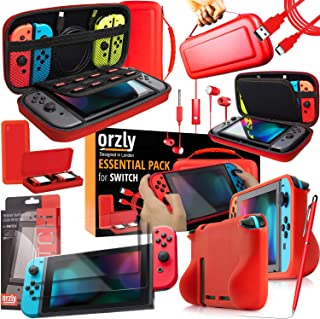 Switch Accessories Bundle - Orzly Essentials Pack for Nintendo switch Case & Screen Protector, Grip Case, Games Holder, He...