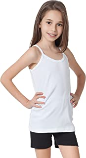 CAOMP Girls Camisole%100 Organic Cotton Undershirt Tank Tee Top (Pack of 2)