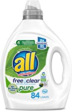 all Liquid Laundry Detergent, Free Clear Pure, 99% Biobased, Unscented and Hypoallergenic, 2X Concentrated, 84 Loads