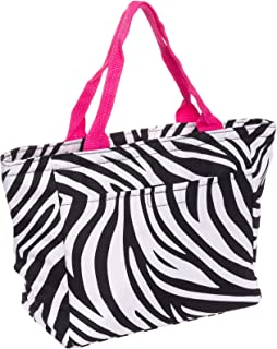 SilverHooks Womens Zebra Print Insulated Lunch Tote w/Pink Trim (Black & White)