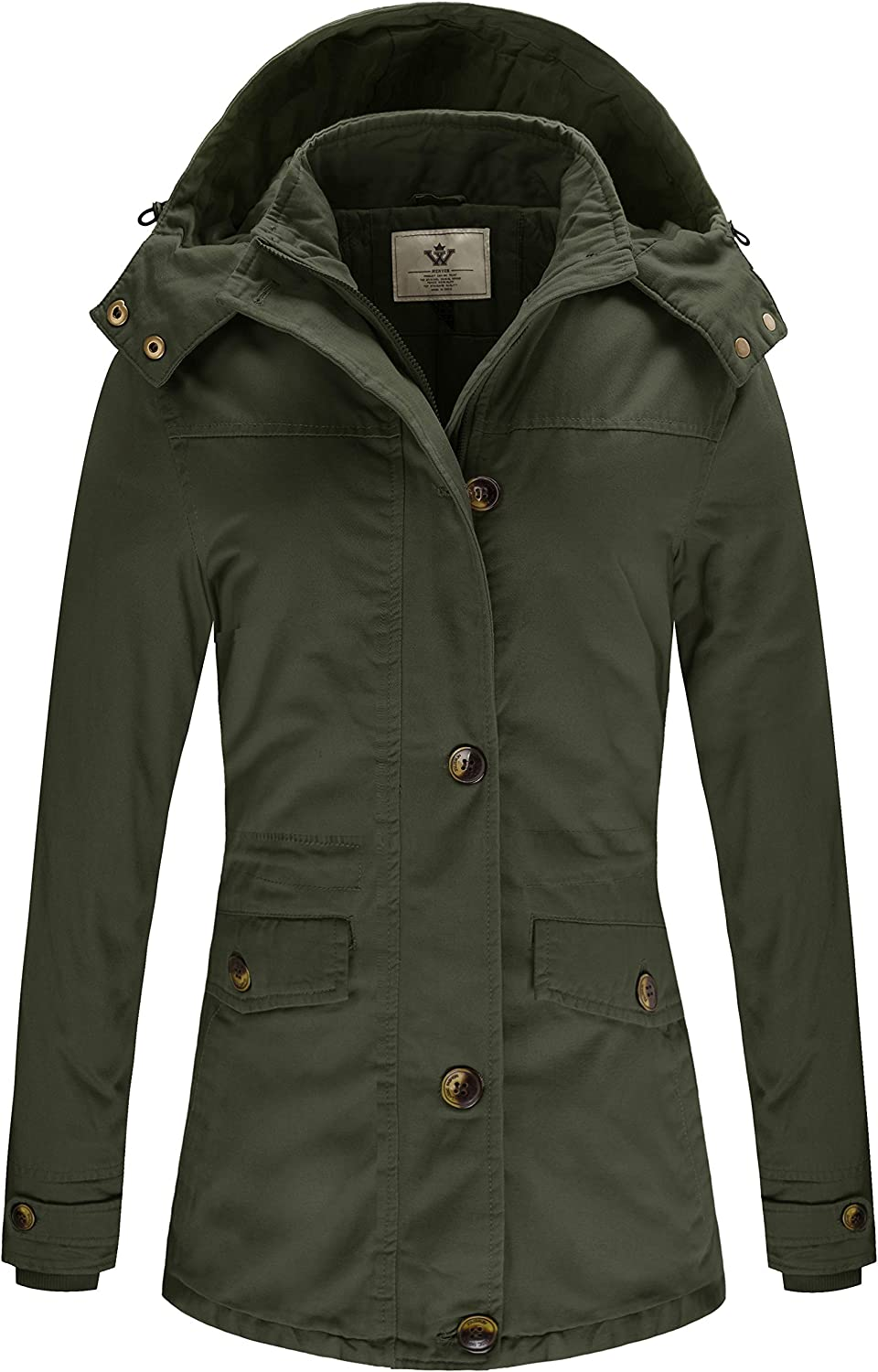 WenVen Women's Winter Warm Thicken Military Parka Jacket with Removable Hood