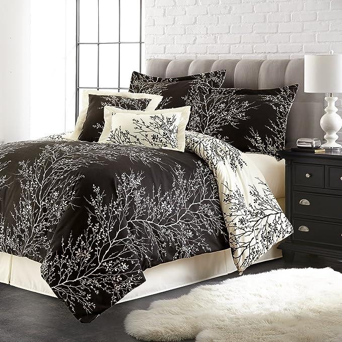 Spirit Linen Hotel 5th Ave 6 Piece Foliage Collection Plush Reversible Comforter Set Queen Black Ivory Amazon Ca Home Kitchen
