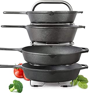 Height Adjustable Heavy-Duty Cast Iron Pan and Pot Organizer Rack: Stainless Steel, 5-Tier Durable Steel Rack for Kitchen Countertop & Cabinet Storage and Organization (15