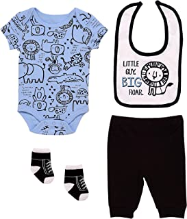 Mini B. by Baby Starters 4-Piece Layette Set with a Lap Shoulder Bodysuit, Pull-on Pants, 2 ply Cloth Bib and Coordinating Pair of Socks (Blue/Black, Little Guy Big Roar, 0-3M)