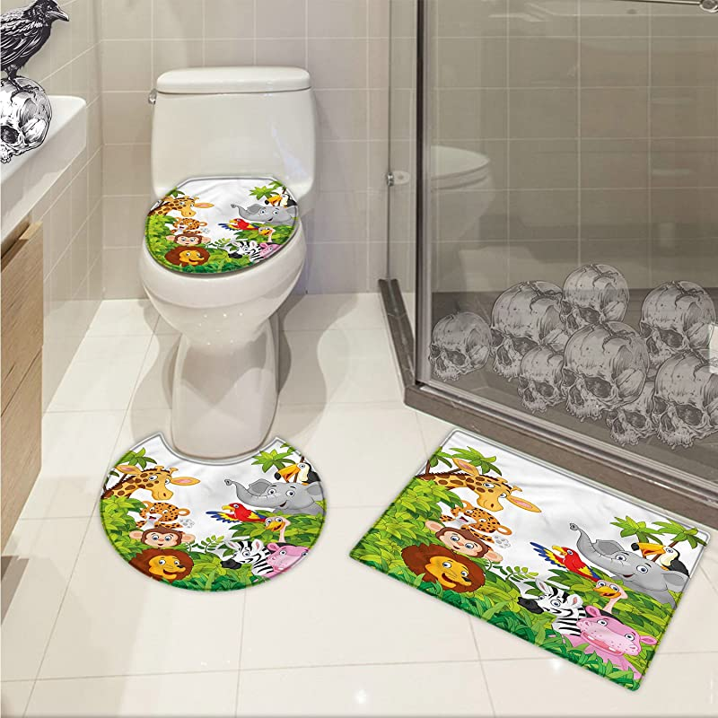 Jwchijimwyc Nursery 3 Piece Bathroom Rug Set Cartoon Style Zoo Animals Safari Jungle Mascots Collection Tropical Forest Wildlife Customized Multicolor