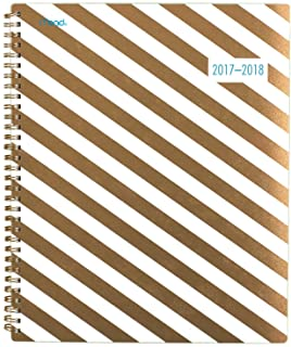 """Mead Academic Weekly / Monthly Planner, July 2017 - June 2018, 8-1/2"""" x 11"""", Gold & Bold, Stripes (CAW508D1)"""