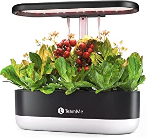 TeamMe Hydroponics Growing System, Indoor Herb Garden Starter Kit with LED Grow Light, Smart Garden Planter for Home Kitchen, Automatic Timer Germination Kit, Aero Gardening System (10 Pods, No Seeds)