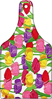 Lunarable Tulip Cutting Board, Group of Mixed Complex Repeating Tulip in Diverse Colors Seasonal Nature Garden Image, Tempered Glass Serving Board, Wine Bottle Shape, Medium Size, Pink Green
