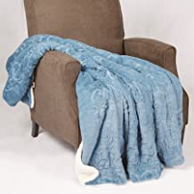 "Home Soft Things BOON Embroidery Batik Sherpa Throw Blanket, 50"" x 60"", Nile Blue"