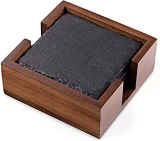Rustic Slate Coaster Set with Wood Holder, 4 Square Stone Coasters for Drinks