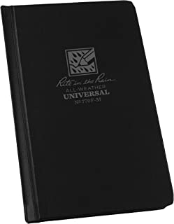 "Rite in the Rain Weatherproof Hard Cover Notebook, 4.25"" x 6.75"", Black Cover, Universal Pattern (No. 770F-M)"