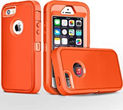 FOGEEK iPhone 5S Case,iPhone SE Case, Heavy Duty PC and TPU Combo Protective Body Armor Case Compatible for iPhone 5S,iPhone SE and iPhone 5 with Fingerprint Function(Orange/Orange)