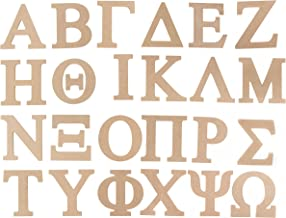 Wooden Greek Letter - 24-Pack Unfinished Wood Greek Alphabet, Paintable Greek Font for DIY, Home, College, Sorority, Fraternity Decoration, 6 inches Tall
