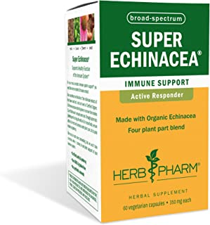 Herb Pharm Certified Organic Super Echinacea Extract for Immune System Support - 60 Vegetarian Capsules, 60 Capsules