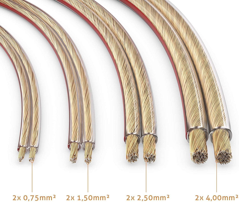 Cavo per altoparlanti CCA 2x2,50mm/² 20 metri conecto colore: trasparente