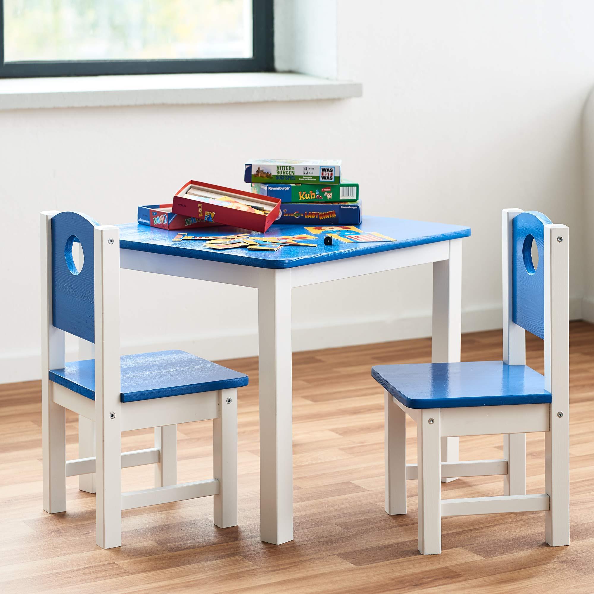 Juego de Mesa y sillas Infantil de Madera Maciza de Pino - Conjuntos de Muebles infatiles a Elegir - Mesa de Actividades para niños, Color:Azul, Modelo:Mesa+2X sillas: Amazon.es: Hogar