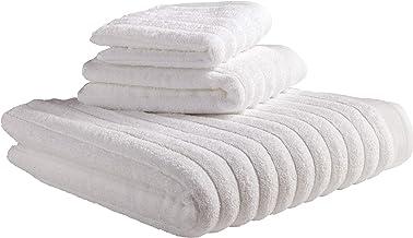 حوله حمام معمولی Rivet Chunky Rib، حوله دستی و مجموعه Washcloth - مجموعه 3 ، سفید