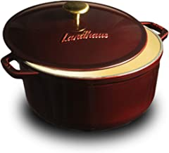 Landhaus Enameled Cast Iron Covered Dutch Oven, Pot with Lid and Two Knobs Included – 6.2 Quart (QT), Natural Non-Stick Slow Cook Enamel Self-Basting Cookware, Merlot Red Exterior with Cream Interior