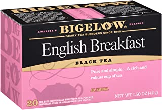 Bigelow English Breakfast Caffeinated Individual Black Tea Bags, for Hot Tea or Iced Tea, 20 Count, Pack of 6