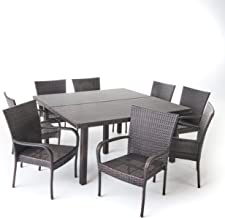 Christopher Knight Home Fern Outdoor 9 Piece Stacking Multibrown Wicker Square Dining Set
