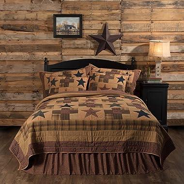 VHC Brands Primitive Bedding Patriotic Ninepatch Quilt, Queen, Golden Tan