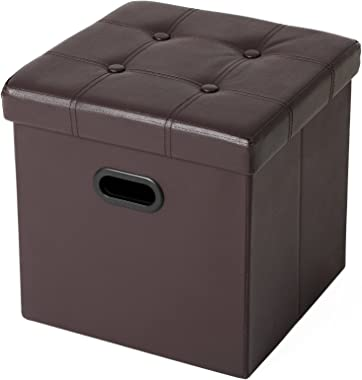 "SONGMICS 15"" x 15"" x 15"" Storage Ottoman Cube/Footrest Stool/Puppy Step/Coffee Table with Hole Handle, Holds Up to 660lbs,Faux Leather, Brown , 15"""