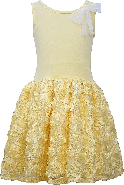 Little Girls 2T-6X Yellow Sleeveless Knit to Bonaz Rosette Drop Waist Dress