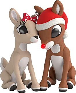 Hallmark Keepsake Christmas 2019 Year Dated Red-Nosed Reindeer Rudolph and Clarice Ornament with Light