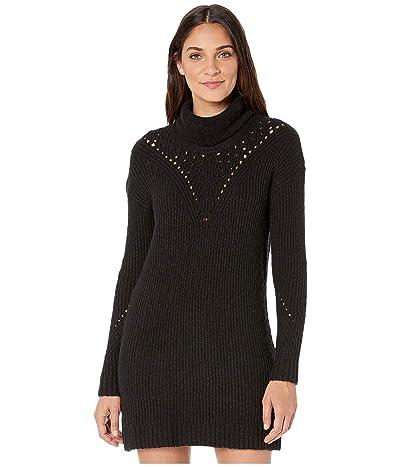 kensie Variegated Cotton Blend Sweater Dress KSNK8415 (Black) Women