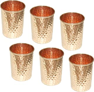 SKAVIJ Pure Copper Water Tumblers Hammered Style Drinking Glasses (Pack of 6, 11 Ounce)