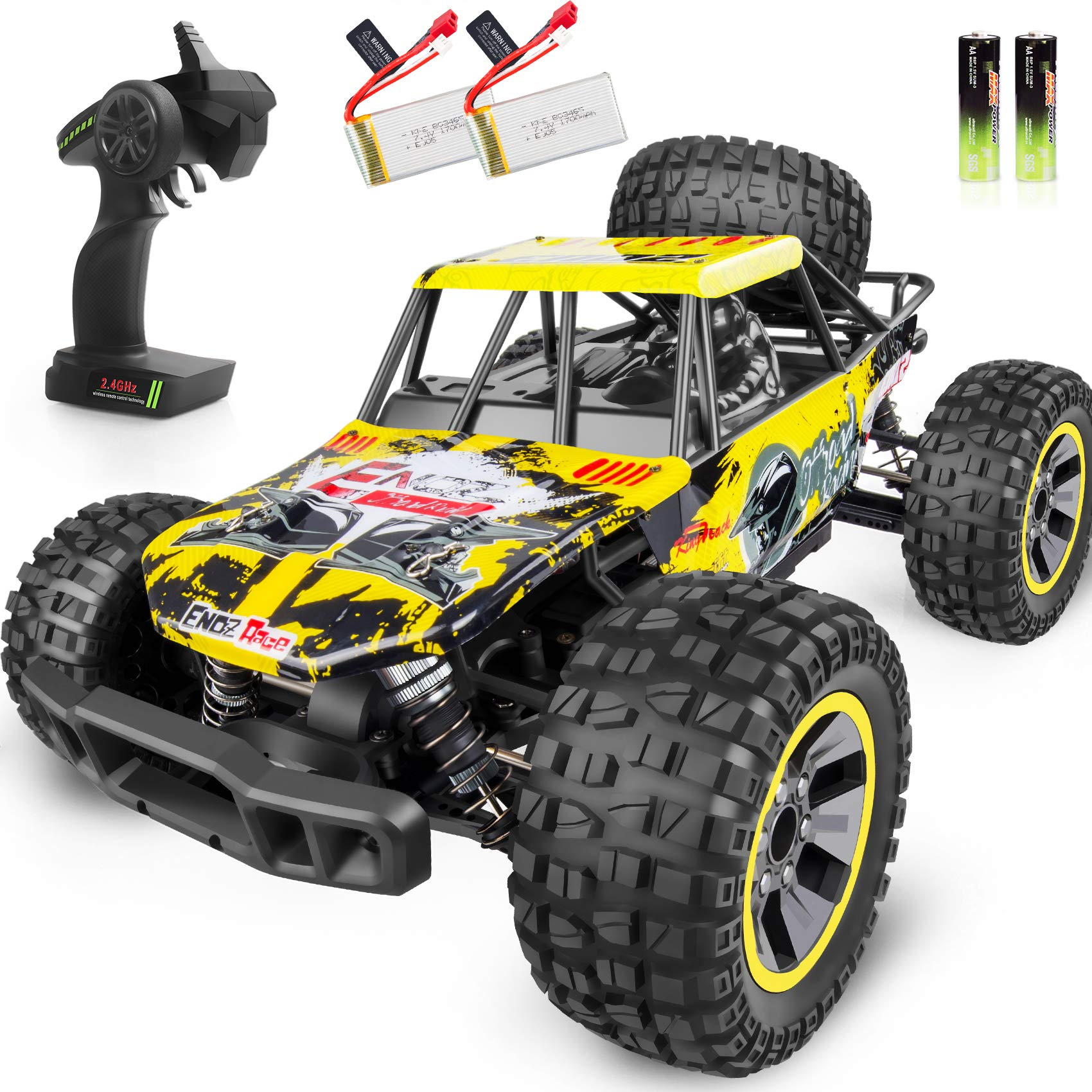 Whimswit Remote Control Car 1 10 Large Scale Electric Rc Car Off Road Monster Truck With High Speed 48km H Wide Range 100m 2 4ghz 4wd Anti Collision R C Cross Country Racing Vehicle Amazon Com Au Toys Games