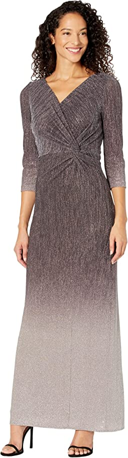 Long Ombre Knot Front Dress with Surplice Neckline and 3/4 Sleeves
