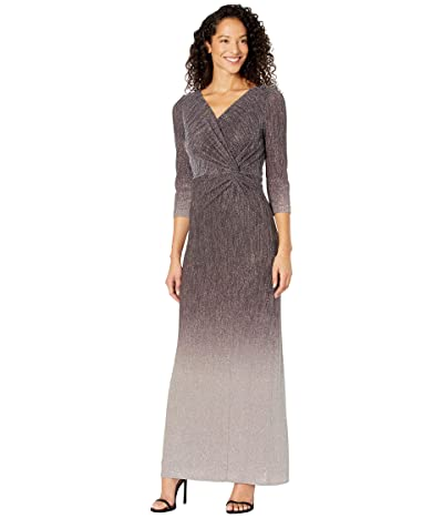 Alex Evenings Long Ombre Knot Front Dress with Surplice Neckline and 3/4 Sleeves
