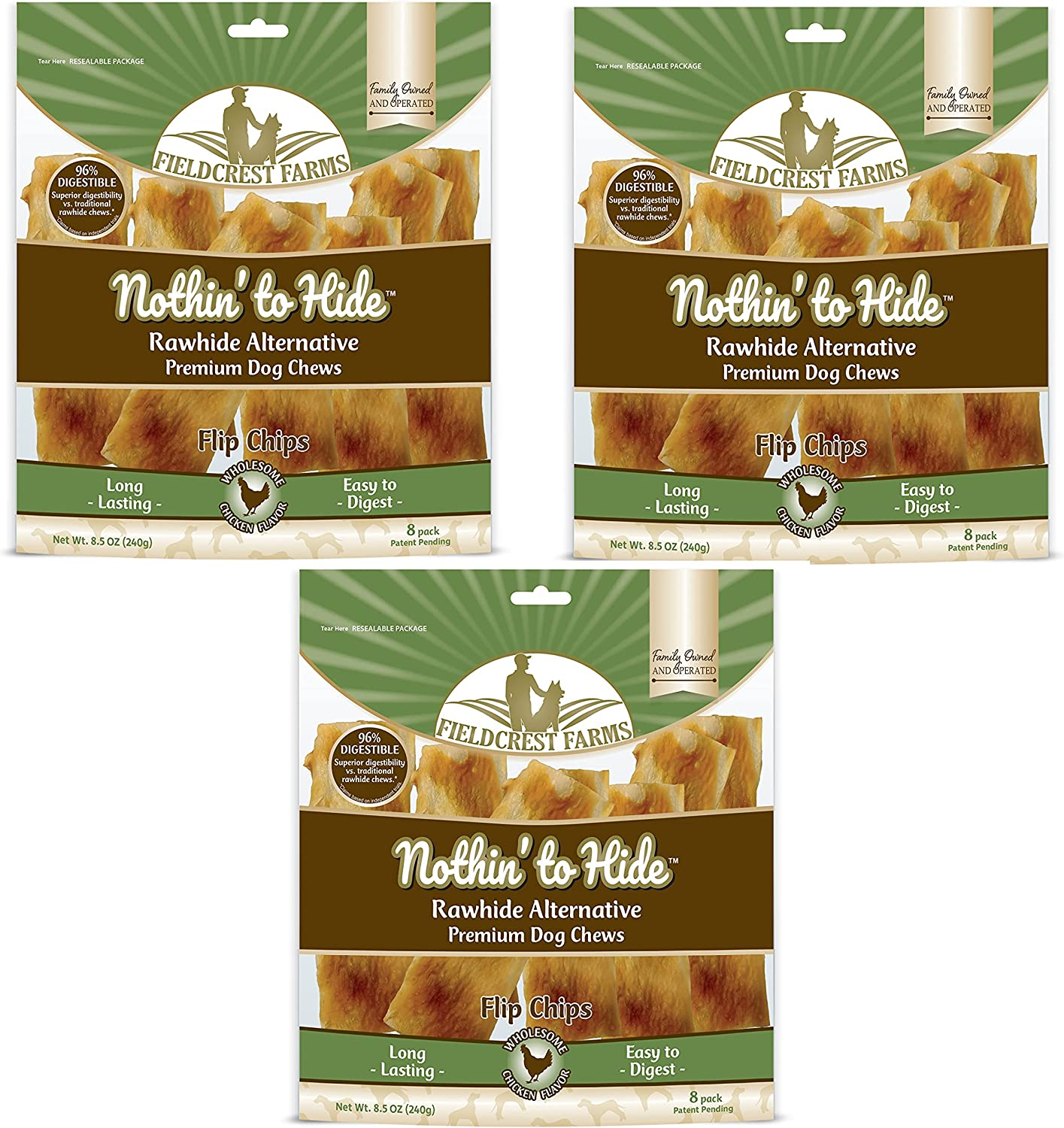 Nothin to Hide Flip Chips Dog Chews - All Natural Rawhide Alternative Treats for Dogs, Chicken, Beef or Peanut Butter Flavor Snack for All Breed Dogs - 3 Pack by Fieldcrest Farms (Chicken)