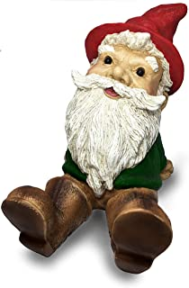 Sculptural Sitting & Relaxing Garden Gnome Statue Outdoor,- 8.3-Inch Height