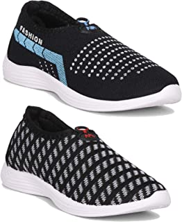 Claptrap Comfortable Sneaker Women Combo Shoes Pack of 2 Pc (Black-Sky)