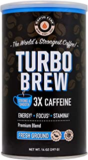 Rapid Fire Turbo Brew Ground Coffee, RFA Approved, 3X Caffeine, Supports Energy Focus & Stamina, 14 oz