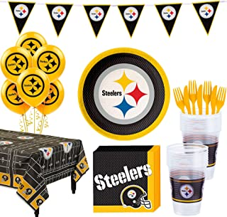 Party City Pittsburgh Steelers Super Party Supplies for 18 Guests, Include Plates, Napkins, Table Cover, and Balloons