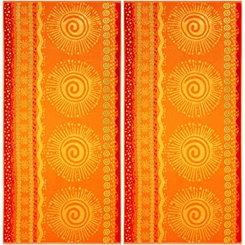 COTTON CRAFT Malibu Sun and Sea Set of 2 Oversized Cotton Jacquard Woven Velour Beach and Pool Towels, 39 inch x 68 inch, Orange/Yellow