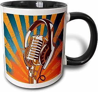 3dRose 3dRose Vintage Mic Microphone And Headphones On Grunge Halftone Rays Background Music Vector Design - Two Tone Black Mug, 11oz (mug_115374_4), Black/White