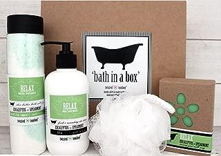 'Bath In A Box' Gift Set Eucalyptus+Spearmint 'Relax' - Shea Butter Bath Salt Fizz (Bath Bomb In A Bottle), Goat Milk Soap & Moisturizing+Nourishing Aloe Lotion & Exfoliating Bath Puff MADE IN USA