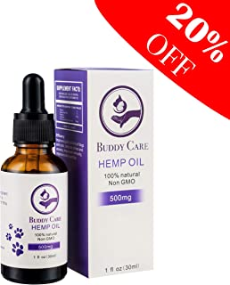 Buddy Care Hemp Oil for Dogs and Cats - Pet Anxiety Relief - Calming Effect for Dogs and Cats - All Natural Hemp Extract for Joint Pain