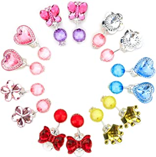 Baby Girl Clip-on Earrings,7 Pairs Little Girl Kids Shiny Princess Jewelry Set Birthday Gift Pretend Play Toy Dress up Set Crystal Earring Box