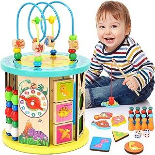 WloveTravel Cube d'activités en Bois Labyrinthe de Perles 10 en 1 Jouets éducatifs Polyvalents pour Bébé Enfants Enfants T...
