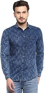 SPEAK Men's Denim Printed Casual Shirt in Slim Fit