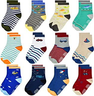 12 Pairs Toddler Non Skid Socks with Grips Anti Slip Bottom, Cotton Non Slip Ankle Crew Socks for Boys, Girls, Kids(1-7Years)