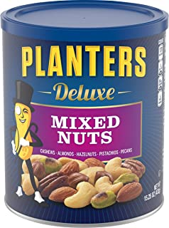 Planters Deluxe Mixed Nuts with Hazelnuts, 15.25 Ounce. Resealable Jar - Cashews, Almonds, Hazelnuts, Pistachios & Pecans ...
